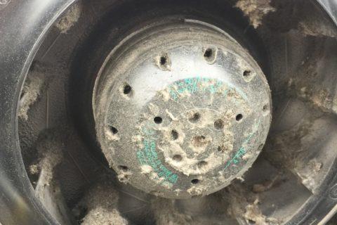 Ej rengjort fläkthjul